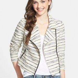 Striped Tweed-Like Moto Jacket – Size Medium